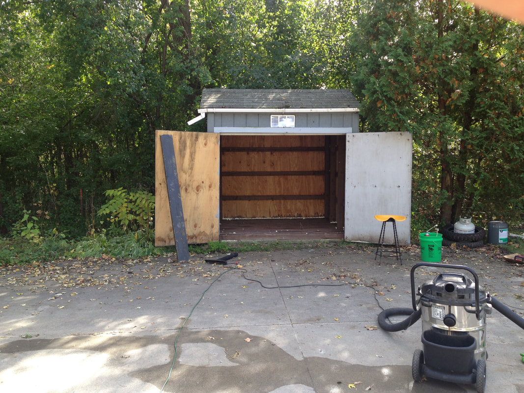 The before photo of our farm stand prior to renovation
