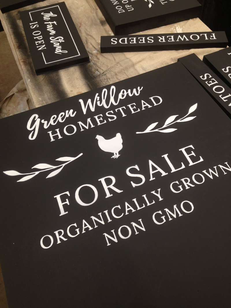 The farm stand signs were created using Cricut templates and chalkboard paint