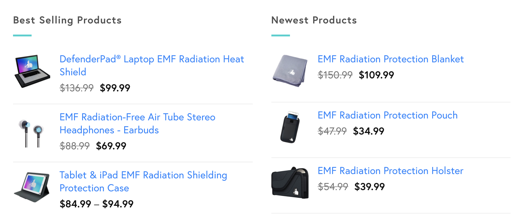 DefenderShield Products for EMF radiation