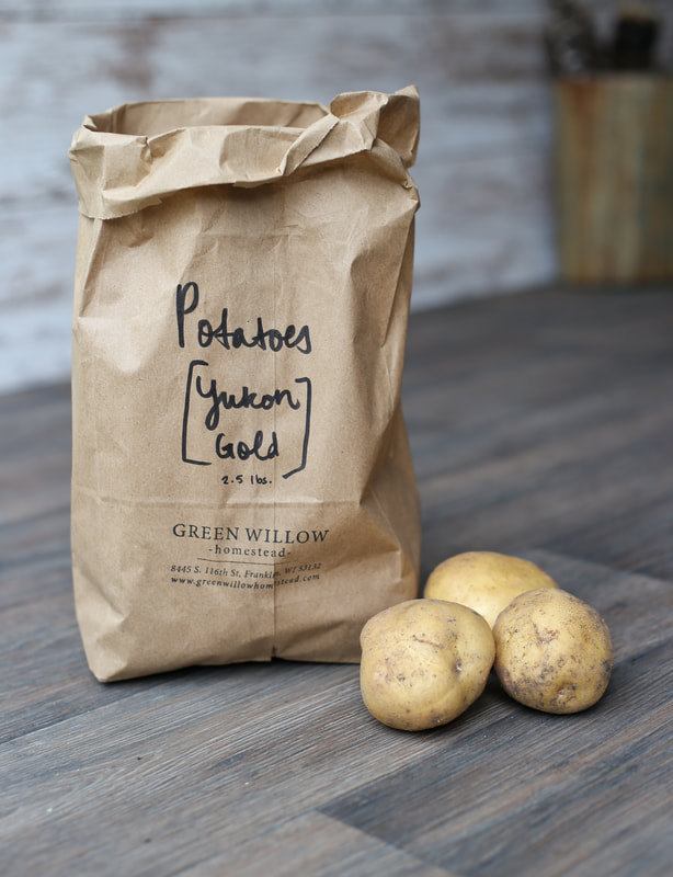 Organic yukon gold potatoes sold at Green Willow Homestead in Franklin, WI